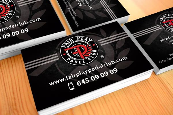 Logotipo y tarjetas Fair Play Padel Club